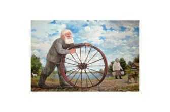 Чуть позже он придумал и сделал небольшую тележку к трактору. На тележке можно не только перевозить не большой груз, но и покатать кого-нибудь.